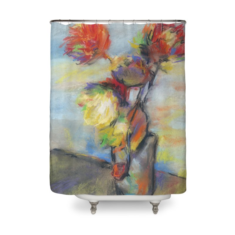 Flowers. Pastel crayons on cardboard. Home Shower Curtain by sleepwalker's Artist Shop