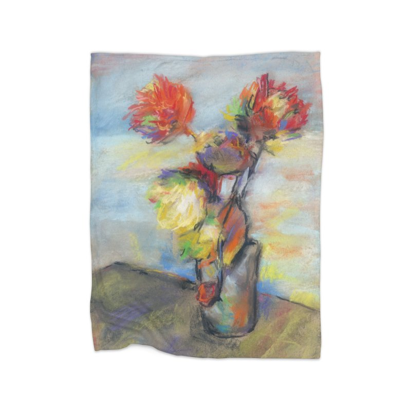 Flowers. Pastel crayons on cardboard. Home Blanket by sleepwalker's Artist Shop