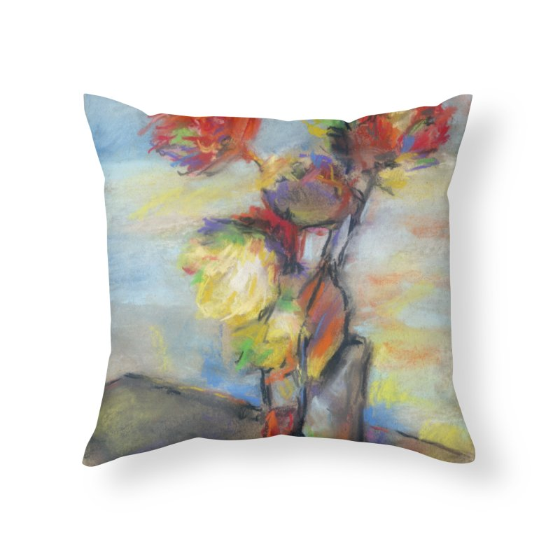 Flowers. Pastel crayons on cardboard. Home Throw Pillow by sleepwalker's Artist Shop