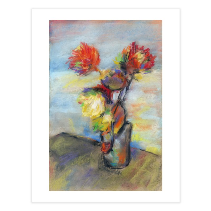 Flowers. Pastel crayons on cardboard. Home Fine Art Print by sleepwalker's Artist Shop