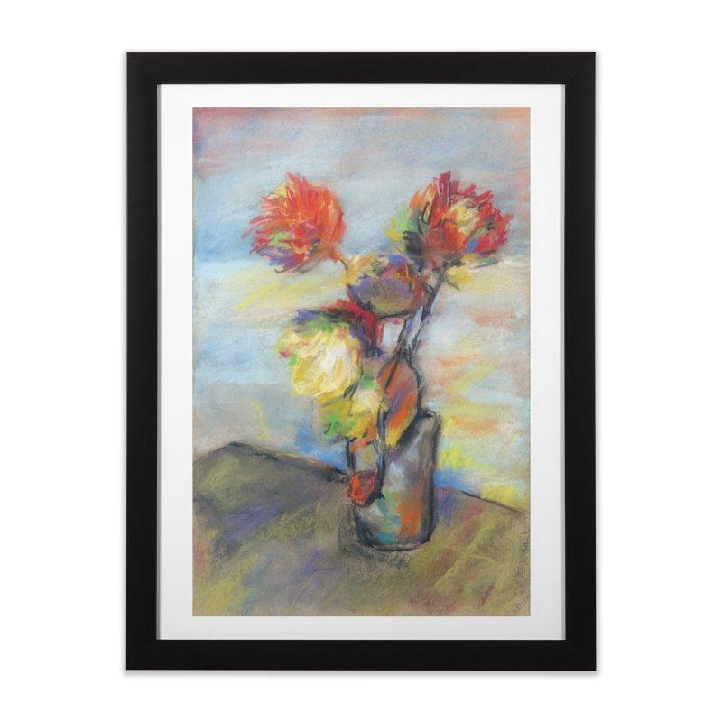 Flowers. Pastel crayons on cardboard. Home Framed Fine Art Print by sleepwalker's Artist Shop