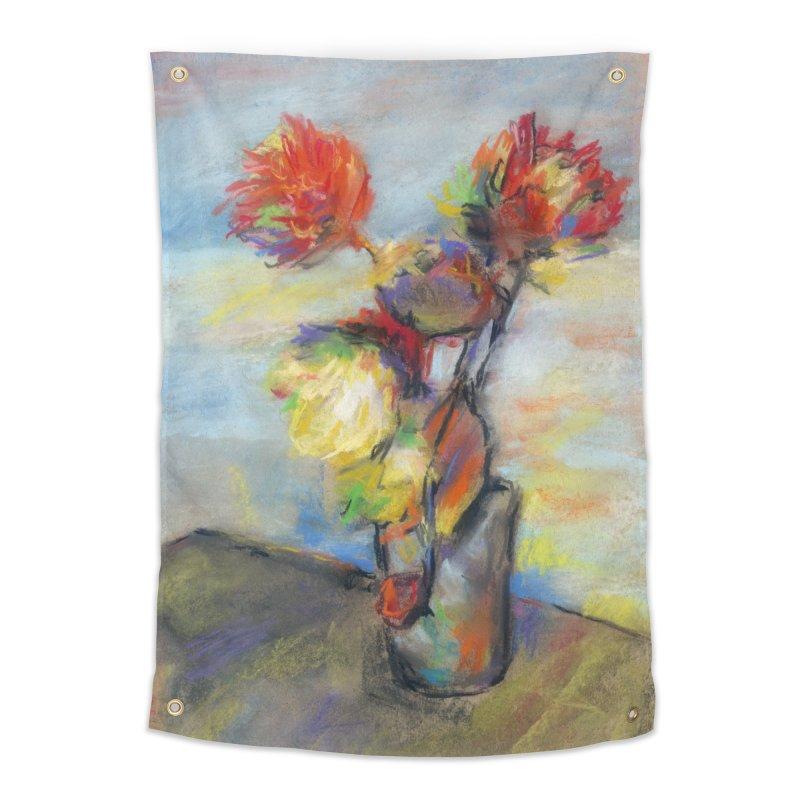 Flowers. Pastel crayons on cardboard. Home Tapestry by sleepwalker's Artist Shop