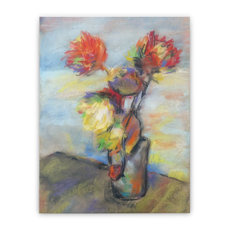 Flowers. Pastel crayons on cardboard. Home Stretched Canvas by sleepwalker's Artist Shop