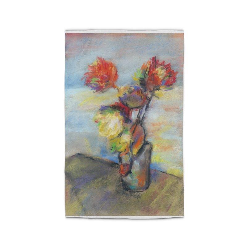 Flowers. Pastel crayons on cardboard. Home Rug by sleepwalker's Artist Shop