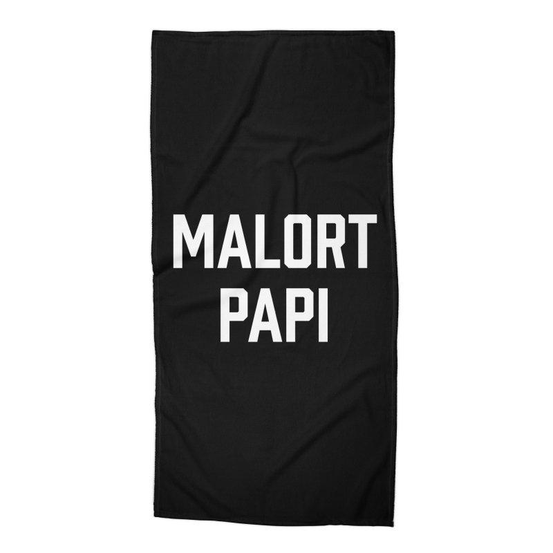 Malort Papi (white font) Accessories Beach Towel by murdamex's Artist Shop