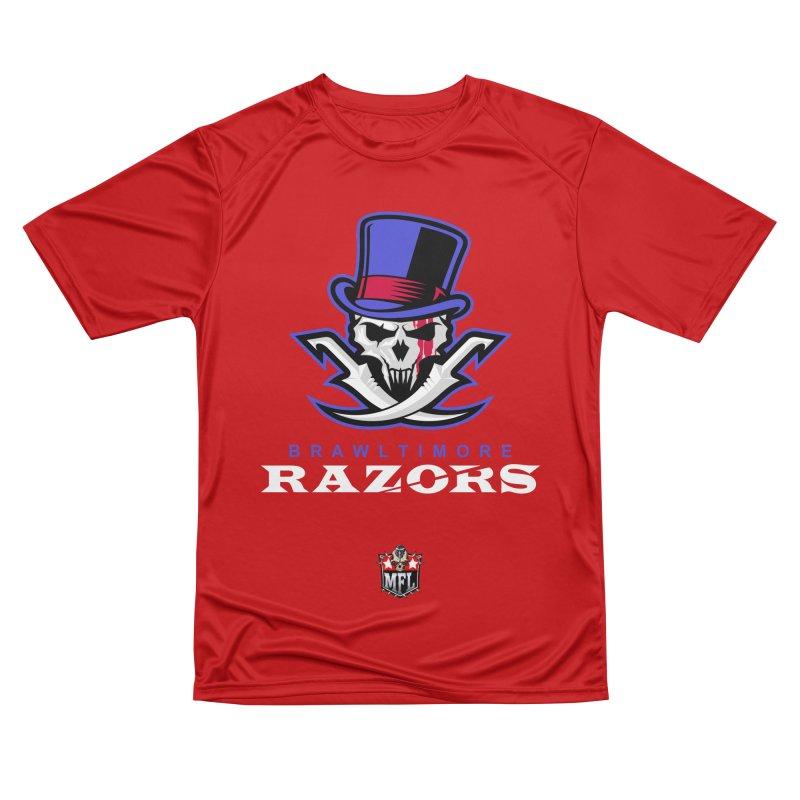 MFL Brawltimore Razors apparel Women's Performance Unisex T-Shirt by Mutant Football League Team Store