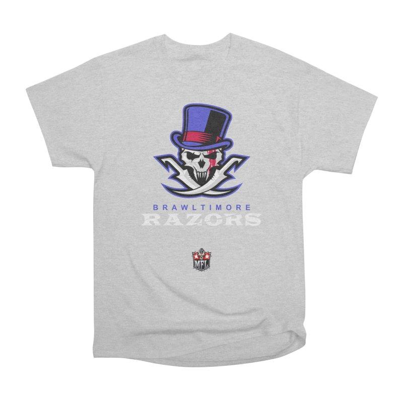 MFL Brawltimore Razors apparel Men's Heavyweight T-Shirt by Mutant Football League Team Store