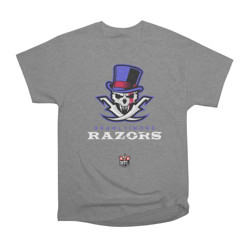 MFL Brawltimore Razors apparel Women's Heavyweight Unisex T-Shirt by Mutant Football League Team Store