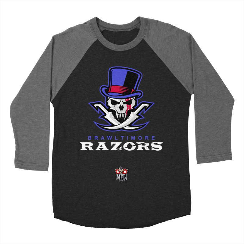 MFL Brawltimore Razors apparel Men's Baseball Triblend Longsleeve T-Shirt by Mutant Football League Team Store