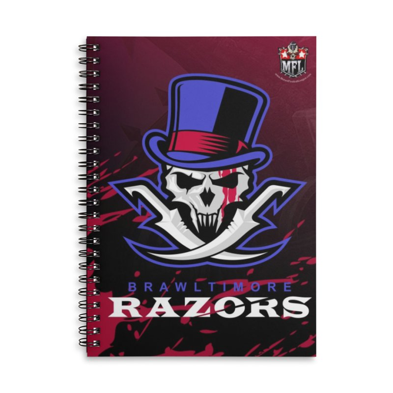 MFL Brawltimore Razors notebook Accessories Lined Spiral Notebook by Mutant Football League Team Store