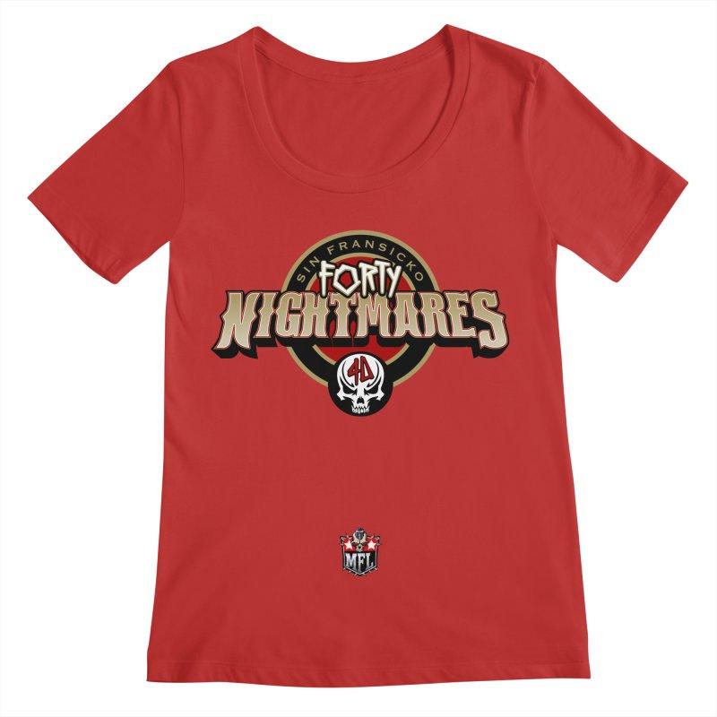 MFL Sin Fransicko Forty Nightmares apparel Women's Regular Scoop Neck by Mutant Football League Team Store