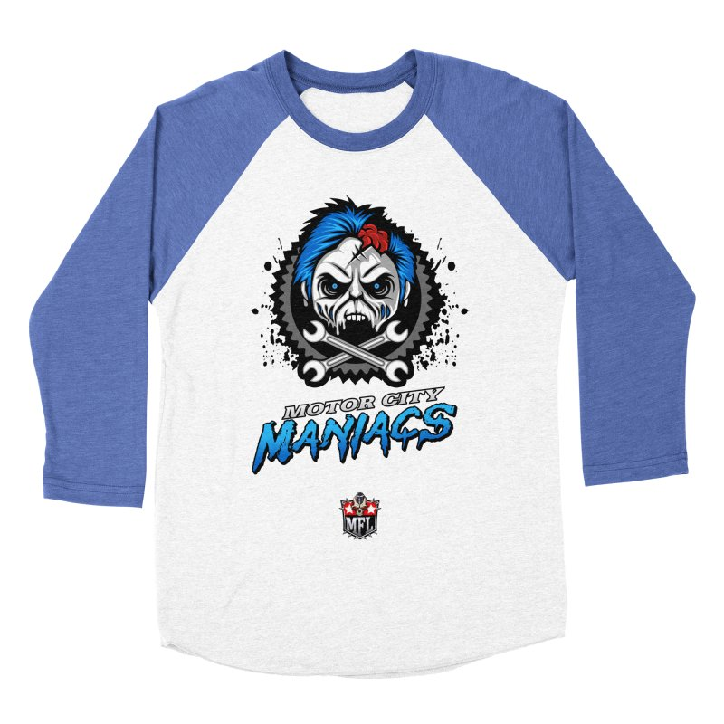 MFL Motor City Maniacs apparel Men's Baseball Triblend Longsleeve T-Shirt by Mutant Football League Team Store