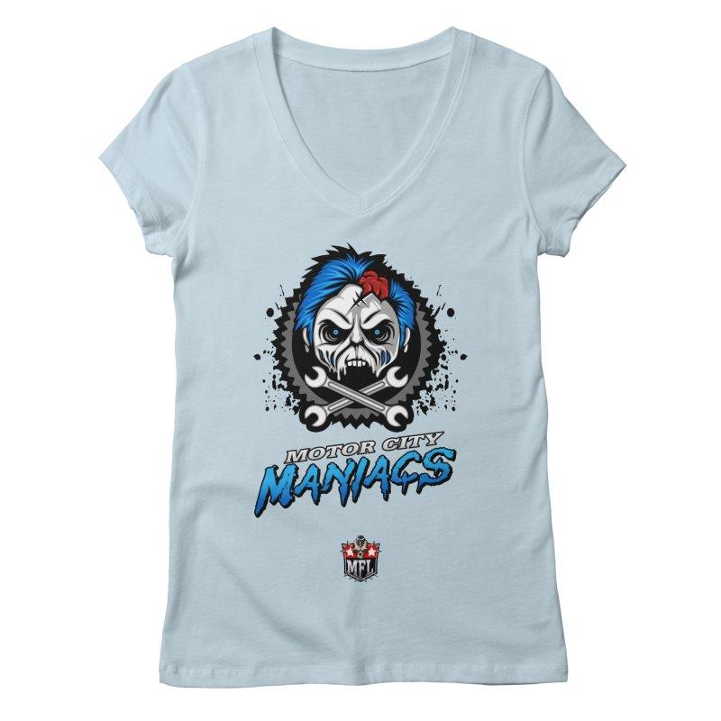MFL Motor City Maniacs logo Women's V-Neck by Mutant Football League Team Store