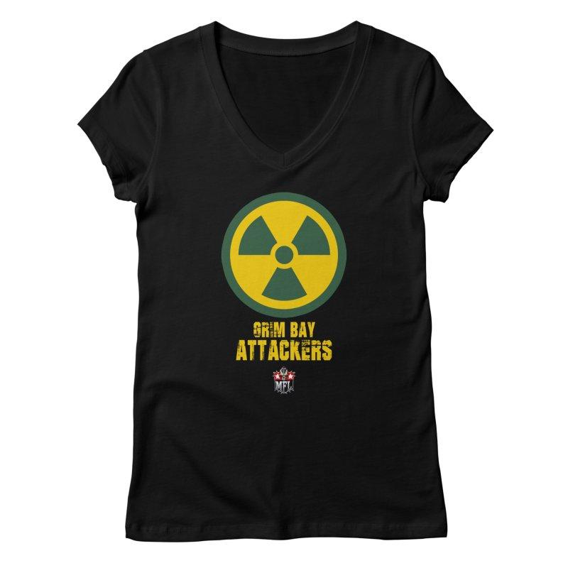 MFL Grim Bay Attackers logo Women's V-Neck by Mutant Football League Team Store