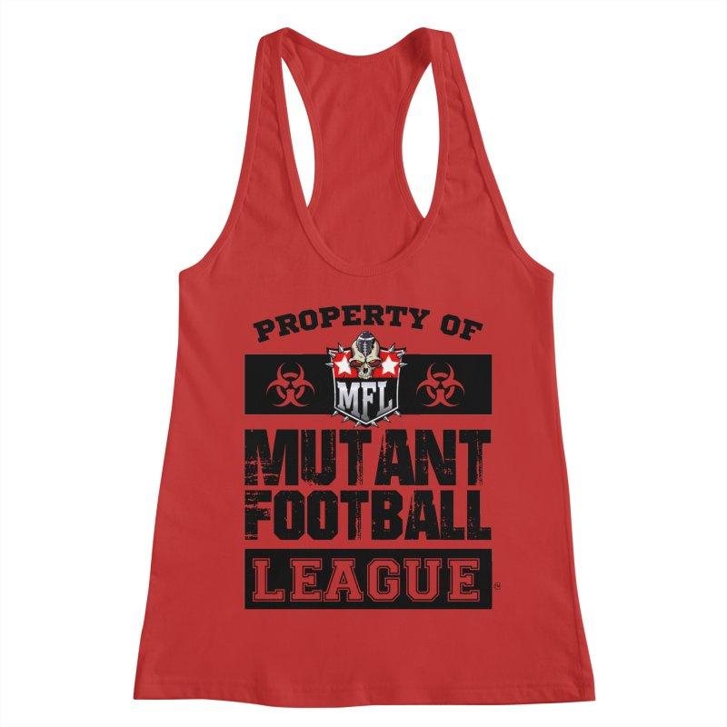 Property of MFL apparel Women's Racerback Tank by Mutant Football League Team Store