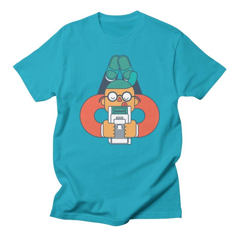 Gameboy in Men's Regular T-Shirt Cyan by Emporio de Mutanthands