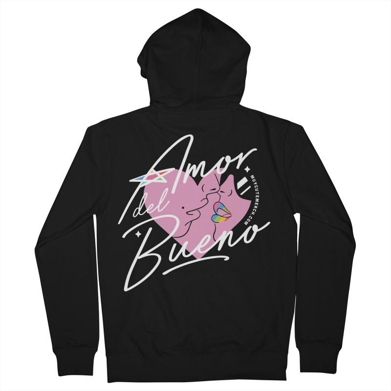 Amor Del Bueno (White Text) Men's Zip-Up Hoody by Muy Cute Camisa Shop