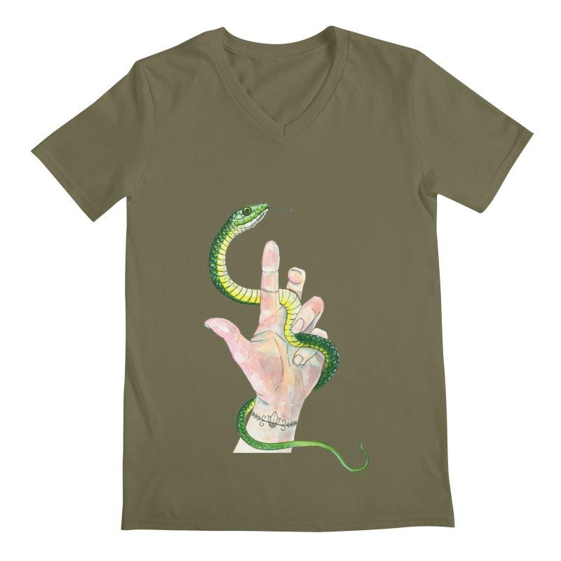 Snake Handler Men's Regular V-Neck by mwashburnart's Artist Shop
