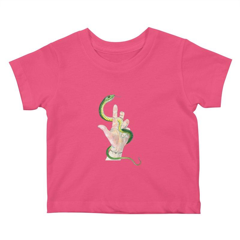 Snake Handler Kids Baby T-Shirt by mwashburnart's Artist Shop