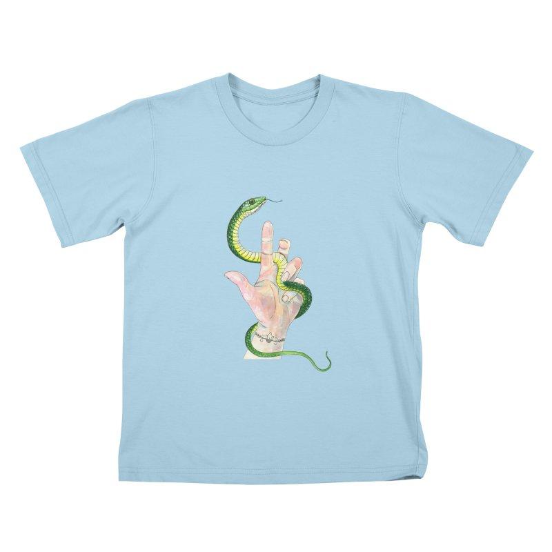 Snake Handler Kids T-Shirt by mwashburnart's Artist Shop