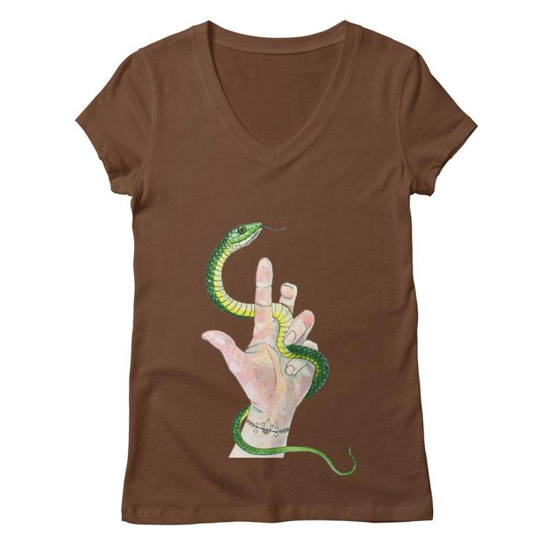 Snake Handler Women's Regular V-Neck by mwashburnart's Artist Shop