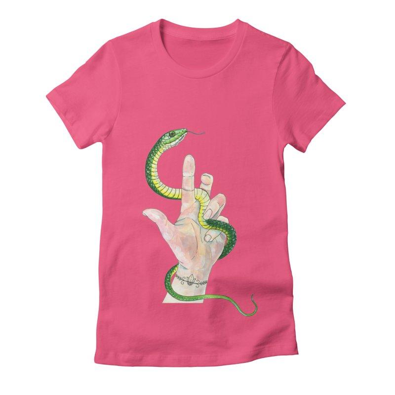 Snake Handler Women's Fitted T-Shirt by mwashburnart's Artist Shop