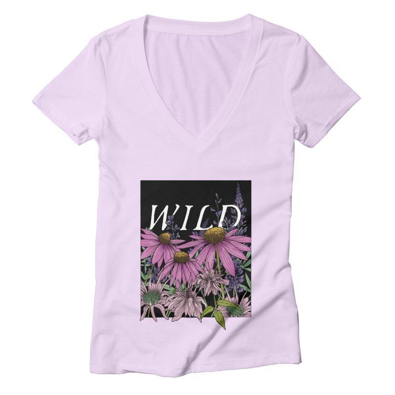 WILD Women's Deep V-Neck V-Neck by mwashburnart's Artist Shop