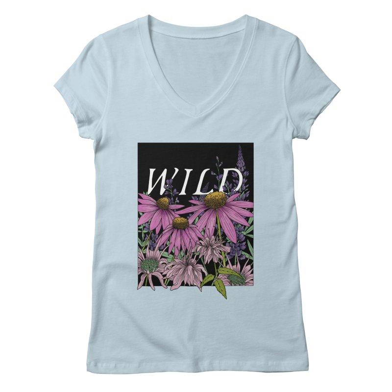 WILD Women's Regular V-Neck by mwashburnart's Artist Shop