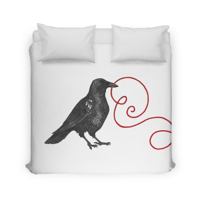 Crow with Red String #1 Home Duvet by mwashburnart's Artist Shop