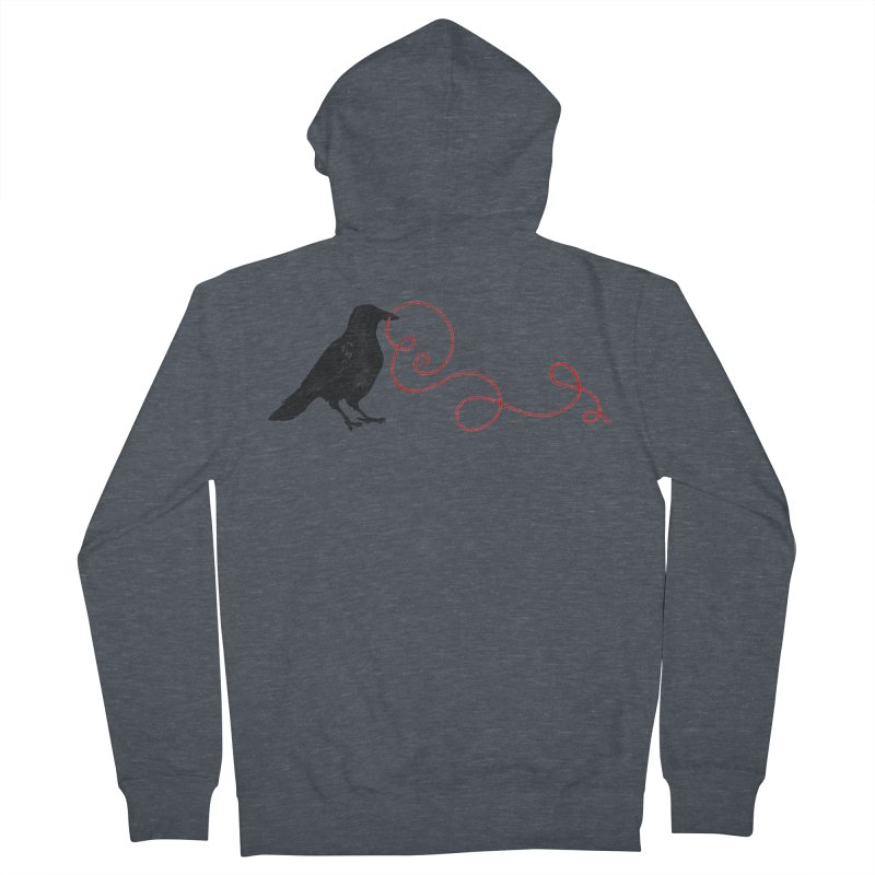 Crow with Red String #1 Women's French Terry Zip-Up Hoody by mwashburnart's Artist Shop