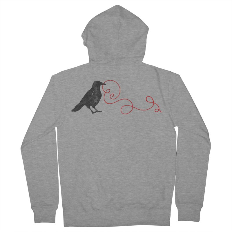 Crow with Red String #1 Men's French Terry Zip-Up Hoody by mwashburnart's Artist Shop