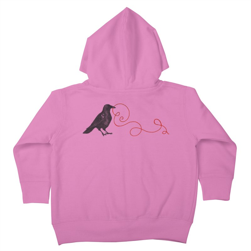 Crow with Red String #1 Kids Toddler Zip-Up Hoody by mwashburnart's Artist Shop