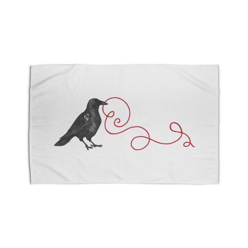 Crow with Red String #1 Home Rug by mwashburnart's Artist Shop