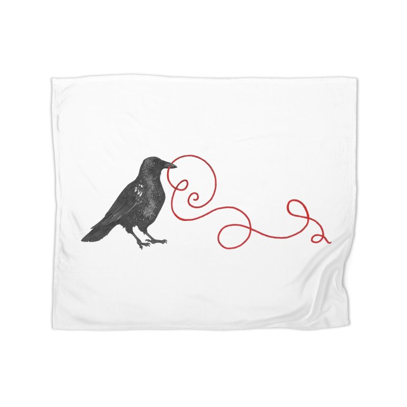 Crow with Red String #1 Home Fleece Blanket Blanket by mwashburnart's Artist Shop