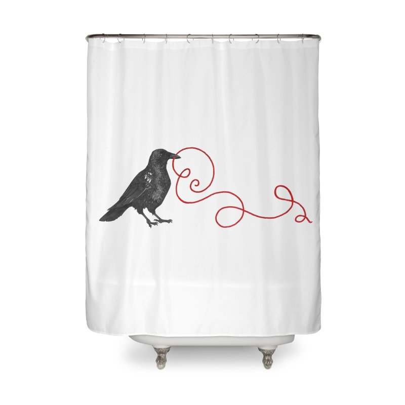 Crow with Red String #1 Home Shower Curtain by mwashburnart's Artist Shop