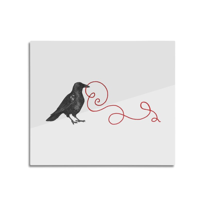 Crow with Red String #1 Home Mounted Aluminum Print by mwashburnart's Artist Shop