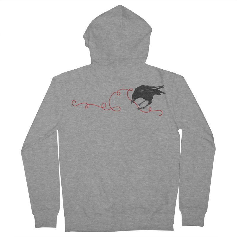 Crow with Red String #2 Women's French Terry Zip-Up Hoody by mwashburnart's Artist Shop