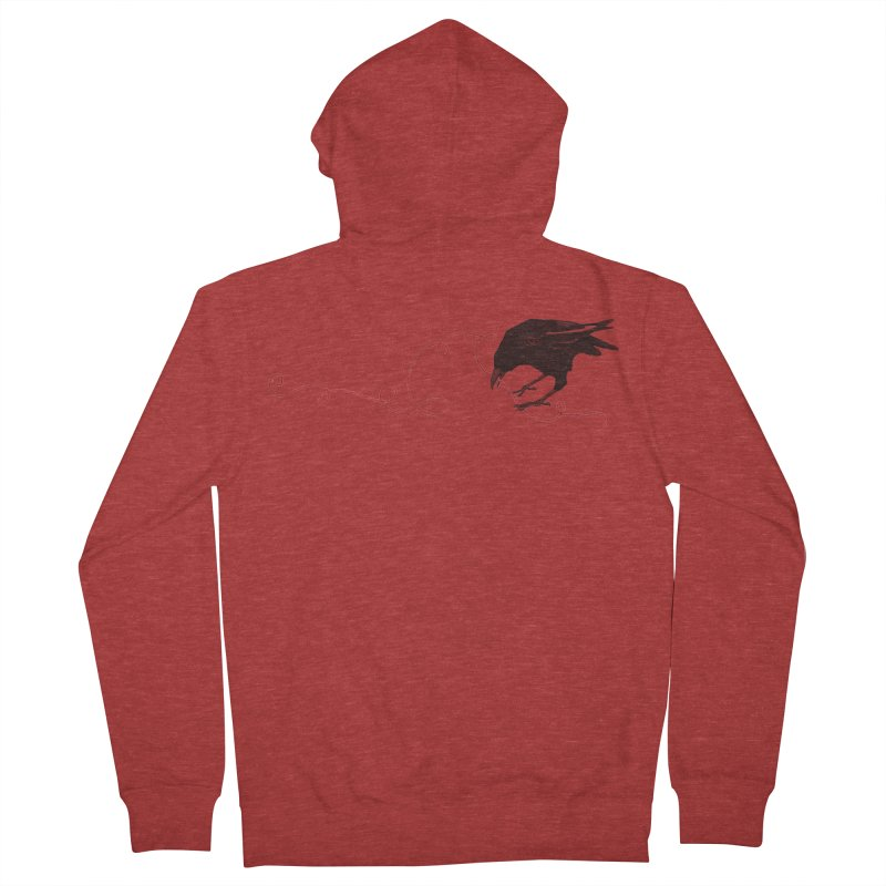 Crow with Red String #2 Men's French Terry Zip-Up Hoody by mwashburnart's Artist Shop
