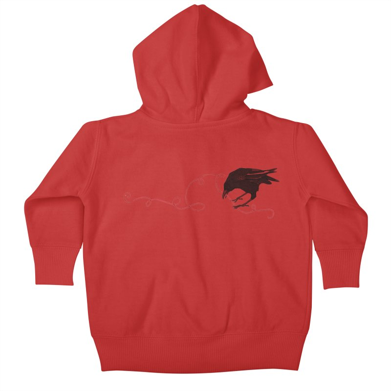 Crow with Red String #2 Kids Baby Zip-Up Hoody by mwashburnart's Artist Shop