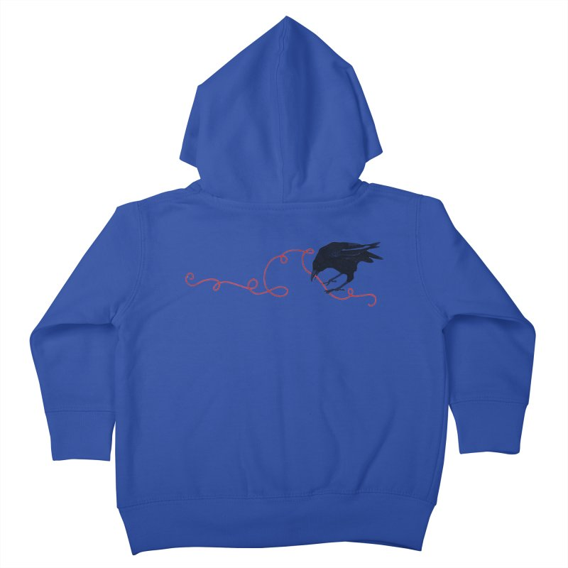 Crow with Red String #2 Kids Toddler Zip-Up Hoody by mwashburnart's Artist Shop