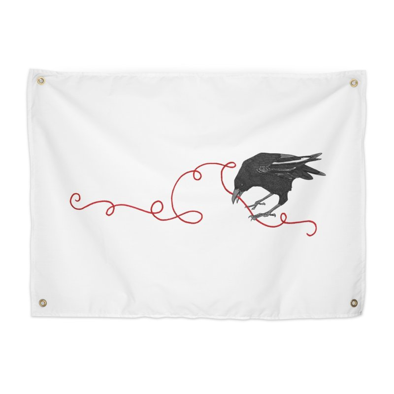 Crow with Red String #2 Home Tapestry by mwashburnart's Artist Shop