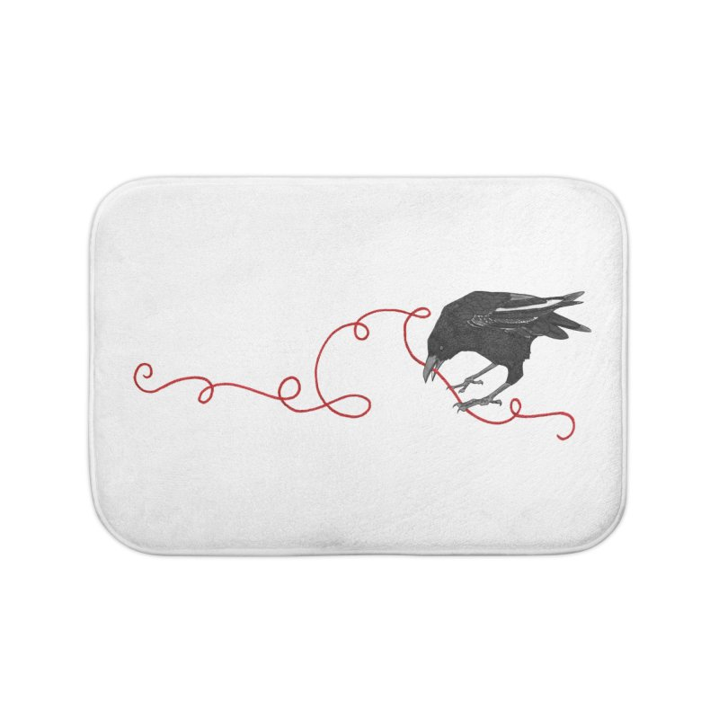 Crow with Red String #2 Home Bath Mat by mwashburnart's Artist Shop
