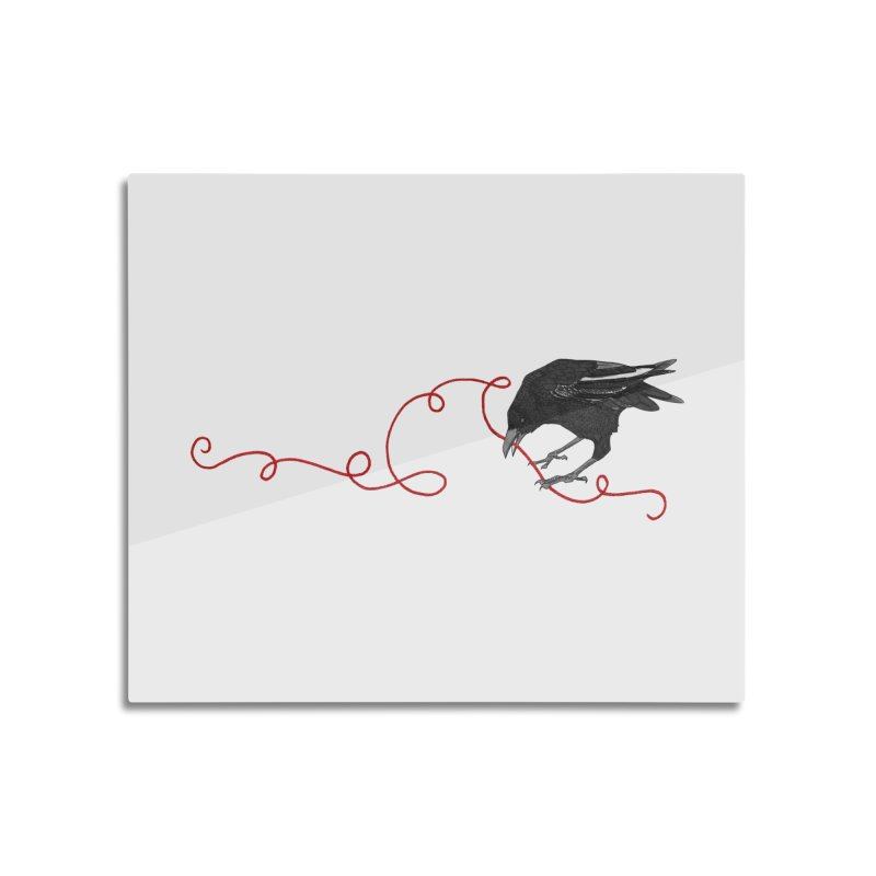 Crow with Red String #2 Home Mounted Aluminum Print by mwashburnart's Artist Shop