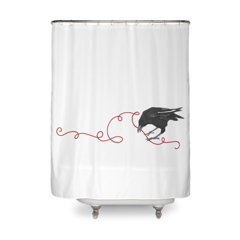 Crow with Red String #2 Home Shower Curtain by mwashburnart's Artist Shop