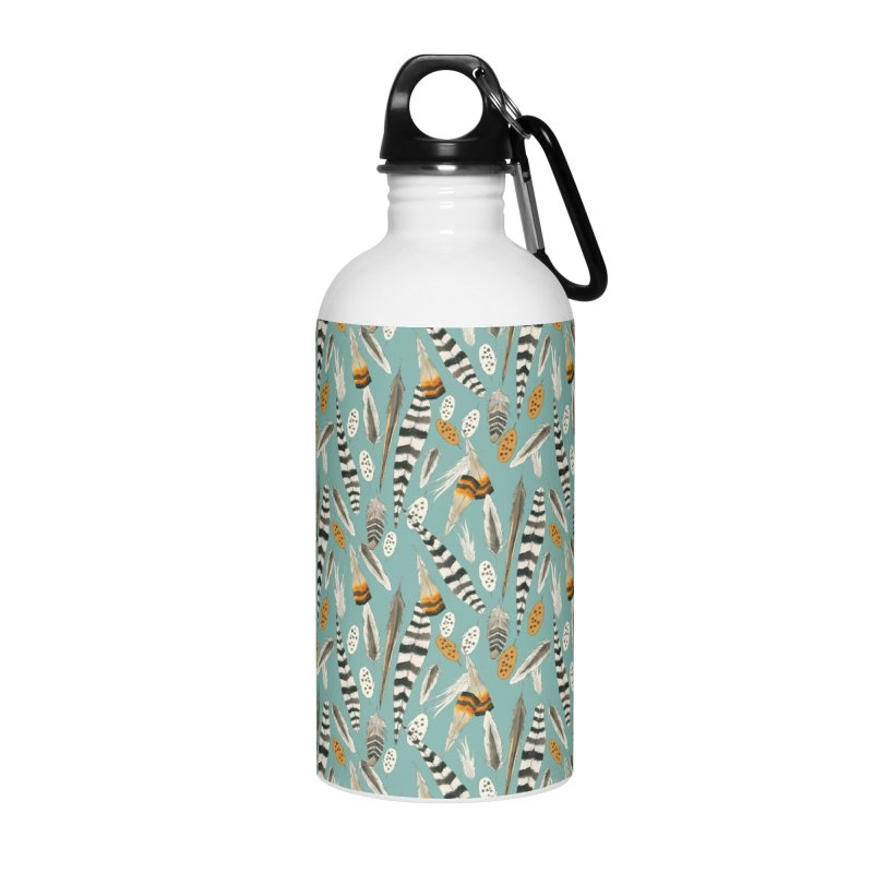 Feathers Repeat Accessories Water Bottle by mwashburnart's Artist Shop