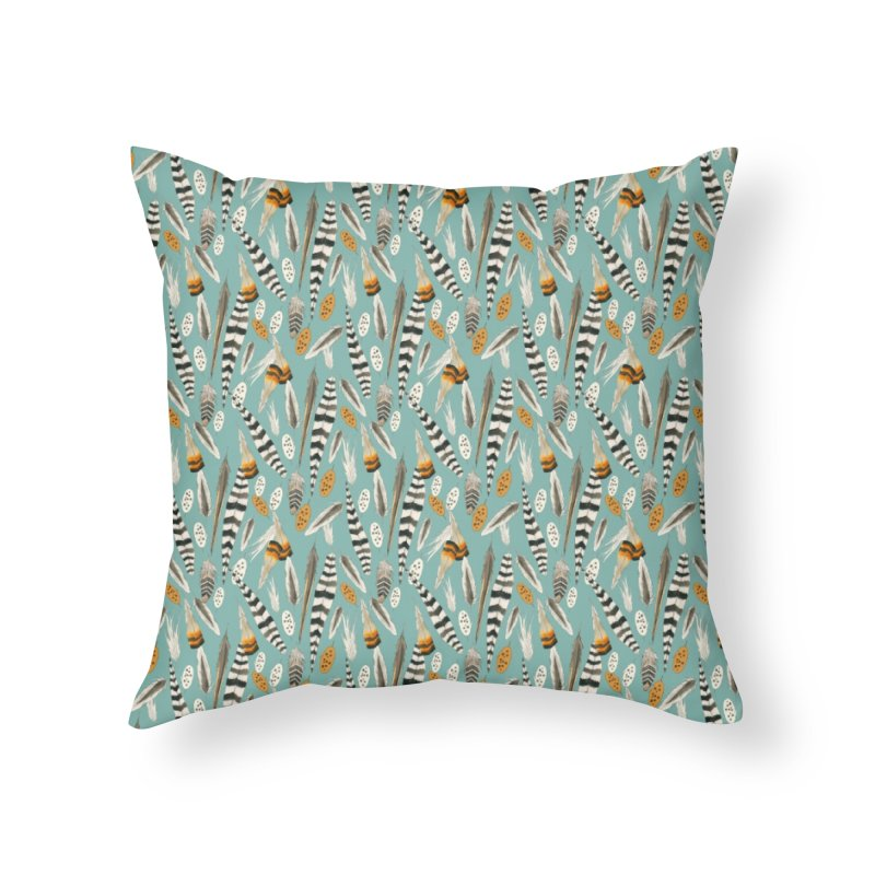 Feathers Repeat Home Throw Pillow by mwashburnart's Artist Shop