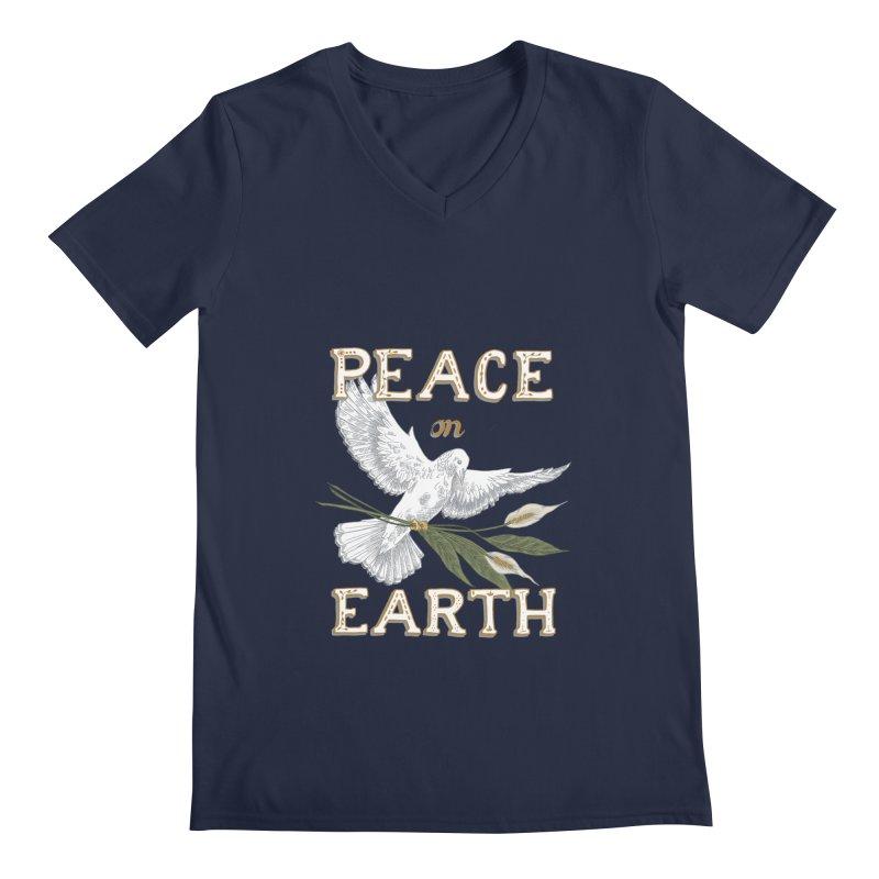 Peace Dove Men's Regular V-Neck by mwashburnart's Artist Shop