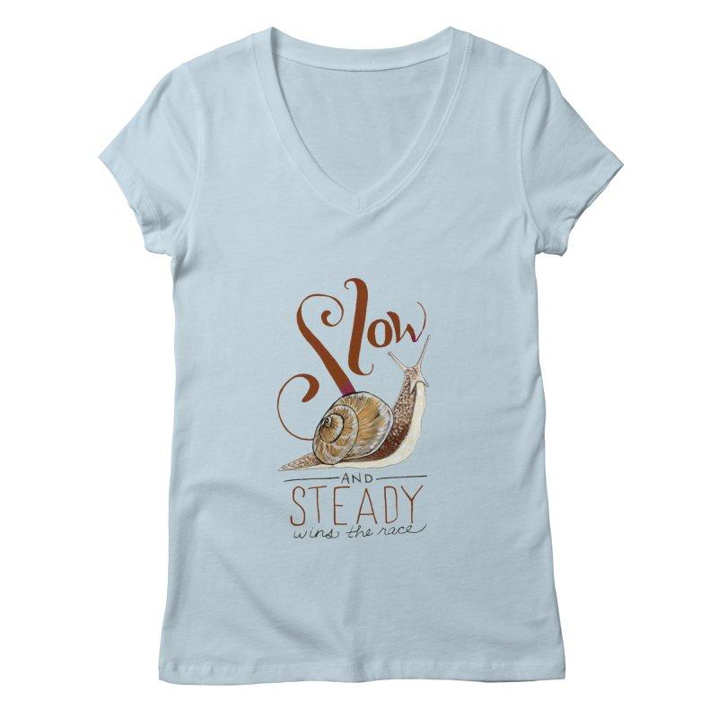 Slow and Steady Women's Regular V-Neck by mwashburnart's Artist Shop