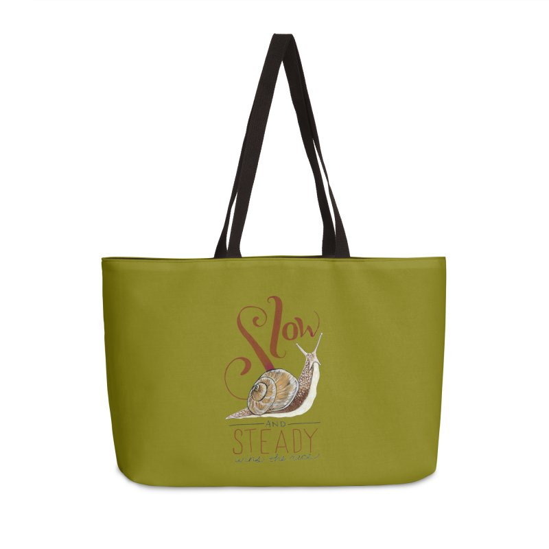 Slow and Steady Accessories Weekender Bag Bag by mwashburnart's Artist Shop