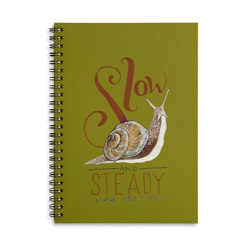 Slow and Steady Accessories Lined Spiral Notebook by mwashburnart's Artist Shop